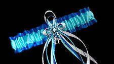 ROYAL BLUE TURQUOISE WHITE Handmade GARTER Belt Wedding Bridal Cosplay Lingerie