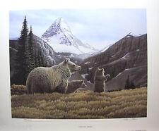 Glenn OLSON MT. Assiniboine LTD art print mint COA Grizzly Bear Family
