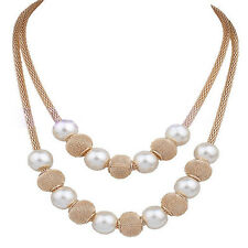Women Pearl Necklace Choker Chunky Statement Bib Multilayer Chain Fashion Gift