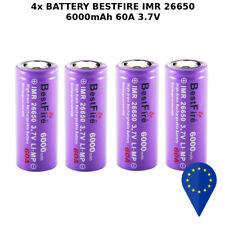 4x BATTERY BESTFIRE IMR 26650 3.7V 6000mAh 60A RECHARGEABLE BATTERIA Li-Ion