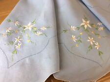 More details for vintage pale blue linen embroidered tablecloth + 4 napkins