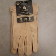 (J) KENT & STOWE  WATER RESISTANT LUXURY LEATHER GLOVES MEDIUM men's , BEIGE