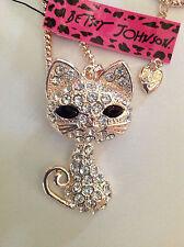 Adorable New Big Betsey Johnson Swarovski Crystal Gold Cat Pendant Necklace NWT