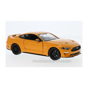 MOTORMAX 79352 Ford MUSTANG Gt Orange 2018 Scale 1:24 Model Car New !°