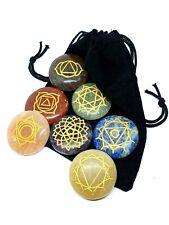 More details for genuine 7 chakra gemstone set round engraved crystal healing & velvet pouch uk