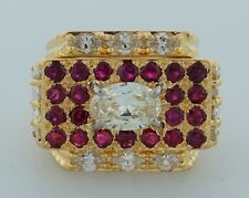 Superb 1970s DAVID WEBB 1.42 ct DIAMOND 2.20 ct RUBY YELLOW GOLD RING Signed