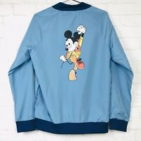 Disney Parks Men Blue Long Sleeve Zipper Mickey Mouse Retro Windbreaker Jacket M