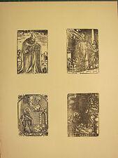 Antigua xilografía impresión ~ imagen gótica religiosa varios Santos Borgia