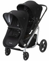 Maxi-Cosi Lila Modular Twin Baby Double Stroller w/ Second Seat Frequency Black