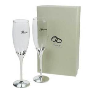 Pair AMORE Bride Groom CHAMPAGNE FLUTES GOBLETS Wedding Day Toast GLASSES Silver
