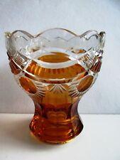 KARL PALDA - BOHEMIAN MODERNIST ART DECO AMBER CUT TO CLEAR GLASS  VASE 1930's