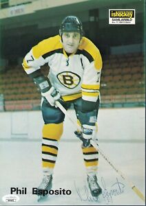 Phil Esposito signed Boston Bruins vintage rare Swedish photo Jsa Authenticated