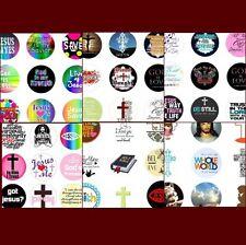 100 Precut assorted RELIGIOUS DESIGNS + QUOTES BOTTLE CAP IMAGES1 inch circles