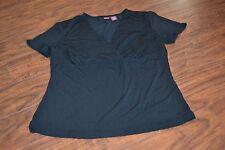 E7- Merona Black Short Sleeve V-Neck Top Size M