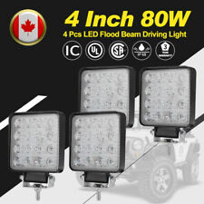 4Pcs 4 Inch 80W LED Work Light Bar Flood SUV Truck Offroad Driving Lights Square