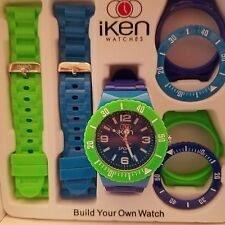 WATERFROOF Iken Build Your Own Watch Green and Two Blue Gift Box
