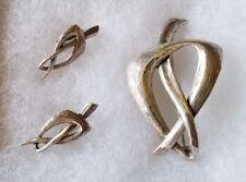 "Vintage 2 5/8"" Napier Sterling Silver Modernist Brooch Pin & Earring Set - 25g"