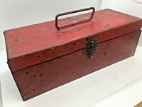 "Metal Red Vintage Tool Box, Small 12"" x 5"" x 4"", Child's tool box?"