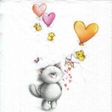 3 Lunch Papier Servietten Napkins (C10-5)  Mäuse schicken der Katze Herzen