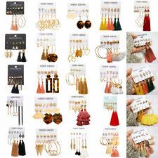 6 Pairs/Lot Imitation Pearl Heart Big Circle Tassel Stud Earrings Set For Women