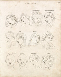 OLD Engraving of Various Emotions (Passions) - Abraham REES 1800s Print #B732