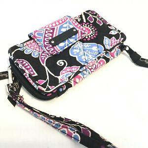 Vera Bradley Black, Blue & Pink Floral  Zip Around Wristlet Wallet - EUC
