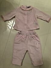 PATACHOU VELOUR TROUSER & TOP SET - PINK WITH CRYSTALS - 1 MTH 55CM
