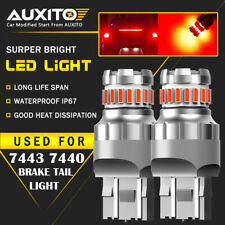 2X 7443 7440 Flash Strobe Blinking Red Brake Tail Stop Light LED Bulbs 2F 23SMD
