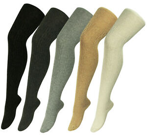 Wool Blend Ladies OVER KNEE Ribbed Cable Knit Pantyhose Thigh High Long Socks