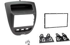 Double Din Fascia Kit Black Finish Stereo Panel Toyota Aygo C1 Peugeot 107 05-14