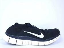 Nike Free Run Flyknit Mens Size 10.5 Running Shoes White Black 615805 010