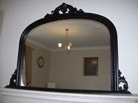"""Black Ornate Arched Overmantle Mirror Large 50""""x36"""" 127cm x 91cm *FREE POSTAGE*"""