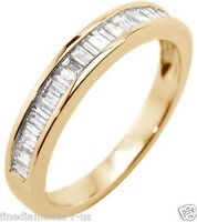 0.50ct Baguette Cut Diamonds Half Eternity Wedding Ring in White & Yellow Gold