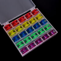 25Pcs Empty Bobbins Sewing Machine Spools Colorful Plastic Case Storage Box WA