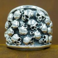 heavy chunky skull biker art 925 sterling silver ag authentic genuine mens ring