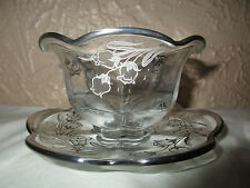 Duncan Miller Canterbury Silver Overlay #115-49 Mayonnaise Bowl and Under Plate