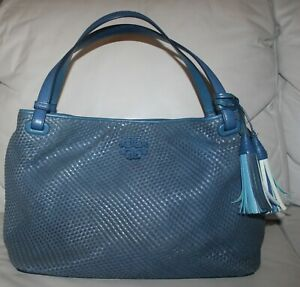 Tory Burch Thea Tidal Wave Blue Woven Leather Shoulder Bag