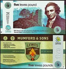 """England / Lewes - Limited edition £5  """"Mumford & Sons""""  Local Banknote. UNC"""