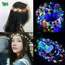 Wedding Party Crown Flower Headband LED Light Up Hair Wreath Hairband Glowing