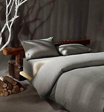 KISS & TELL Cotton/ Linen Gray Duvet Cover Set for King Bed - W/ 2 Pillowcases