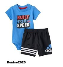 """Baby Boy Adidas """"Built for Speed """" Tee & Shorts Set Size 6 Months NWT"""
