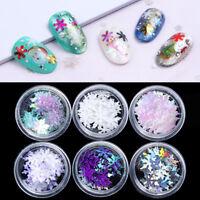 6 Boxes 3D Nail Glitter Sequins Holographic Snowflake Xmas Nail Art Decoration