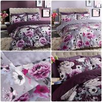 Inky Floral Grey & Purple Duvet Cover Single Double King All Sizes Bedding Set