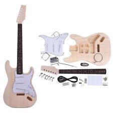 Unfinished ST Style Electric Guitar Basswood Body Maple Neck DIY Kit Set I4J6