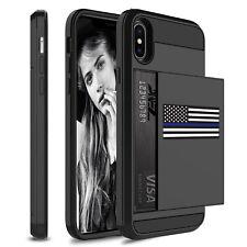 For iPhone Shockproof Wallet Credit Card Case American Flag Blue Line Police