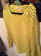 Urban Outfitters Fluorescent Neon Yellow Silver Spike Studded Shoulders Sweater