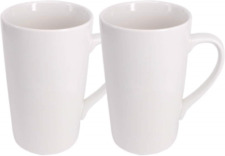 YBCPACK 2 Pack 16 OZ 450ml Porcelain Mug Coffee Cup Plain Large Tall White Cup