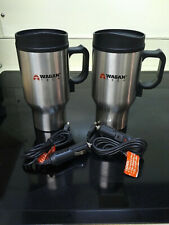 New listing Euc! Set of 2 Wagan Tech 12-Volt Heated Stainless Steel Travel Mugs