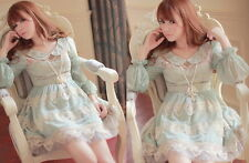 Kawaii Princess Sleeve Cute Sweet Dolly Gothic Lolita elegant Lace Dress Blue