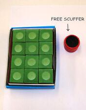 1 Dozen ( 12) Pool  Billiard Chalk GREEN Color FREE SHIP FREE SCUFFER  Cue Tip Q